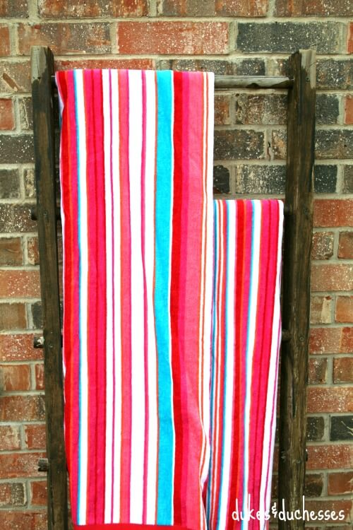 better homes and gardens pool towels on vintage ladder