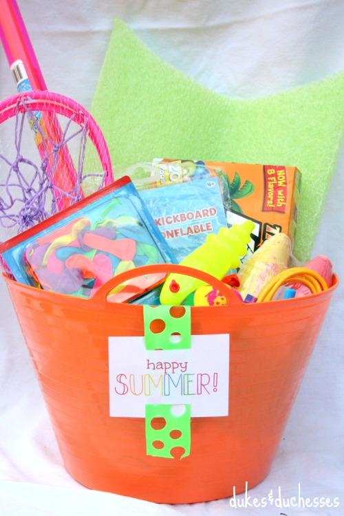 happy summer tag on summer fun basket