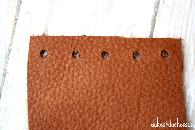 holes for lacing in leather