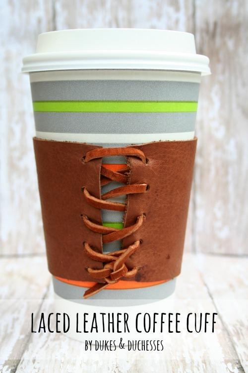 Laced Leather Coffee Cuff Gift Idea for Dads by Randi Dukes