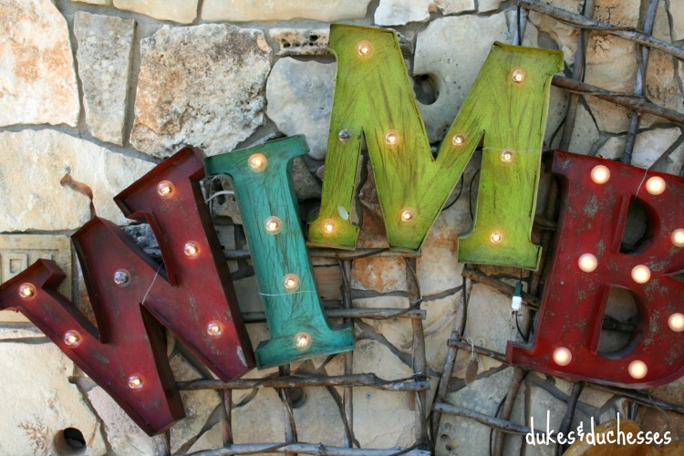 Marquee Letters while Junking in Wimberley Texas: