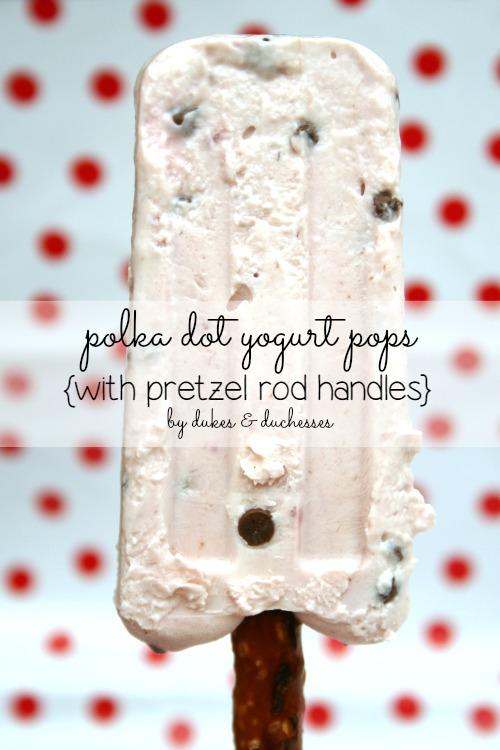polka dot yogurt pops with pretzel rod handles