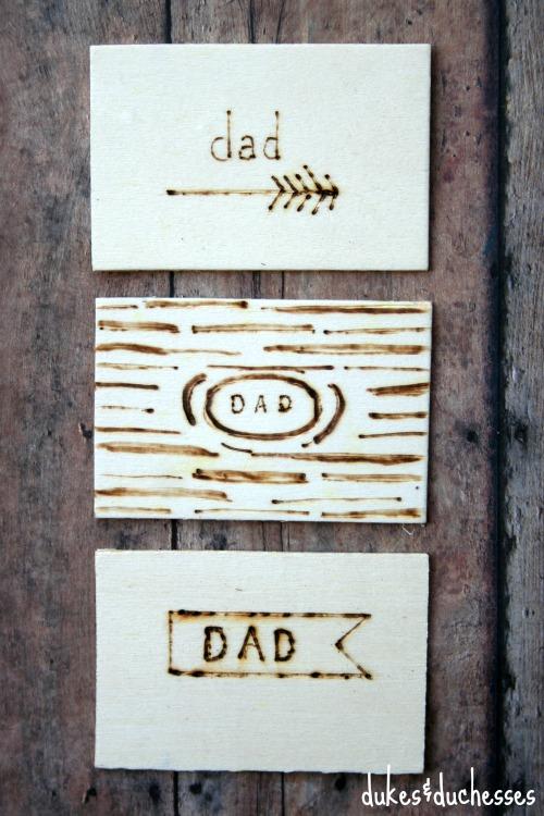 wood burned tags