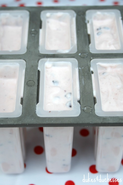yogurt mixture in popsicle mold