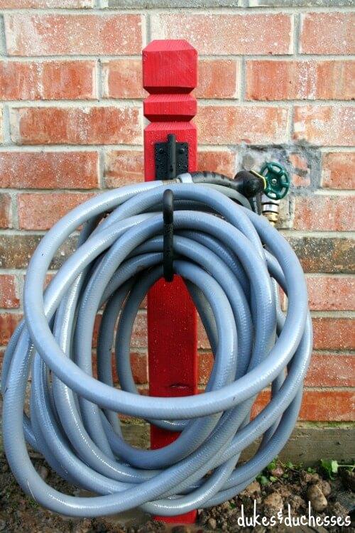 DIY wooden hose holder