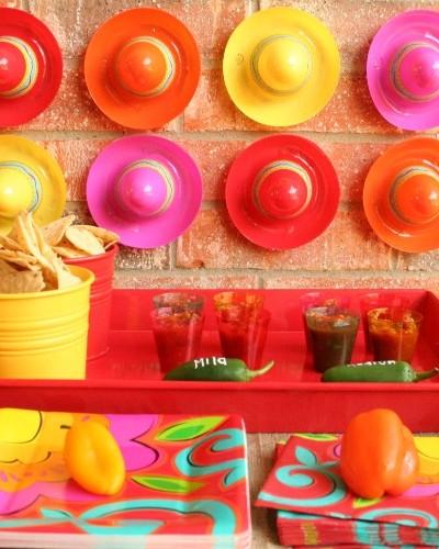 colorful salsa bar