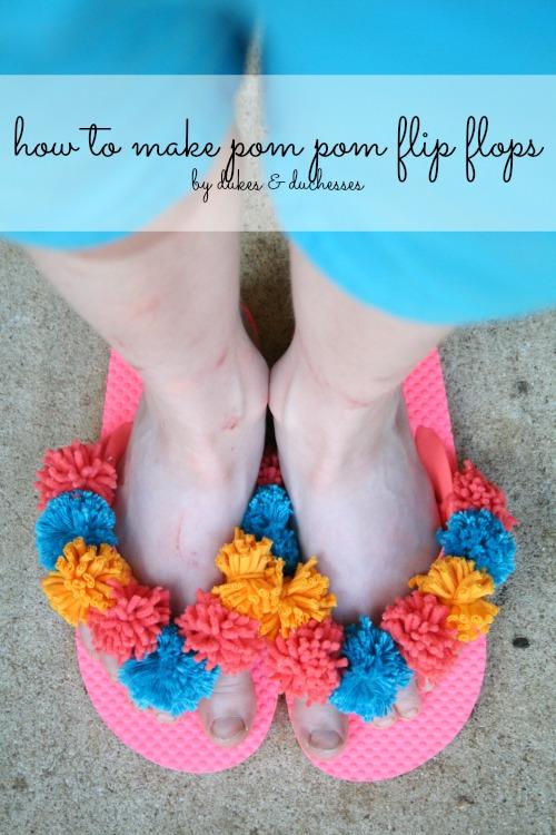 how to make pom pom flip flops
