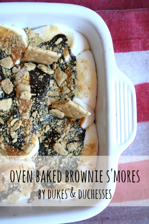 oven baked brownie s'mores