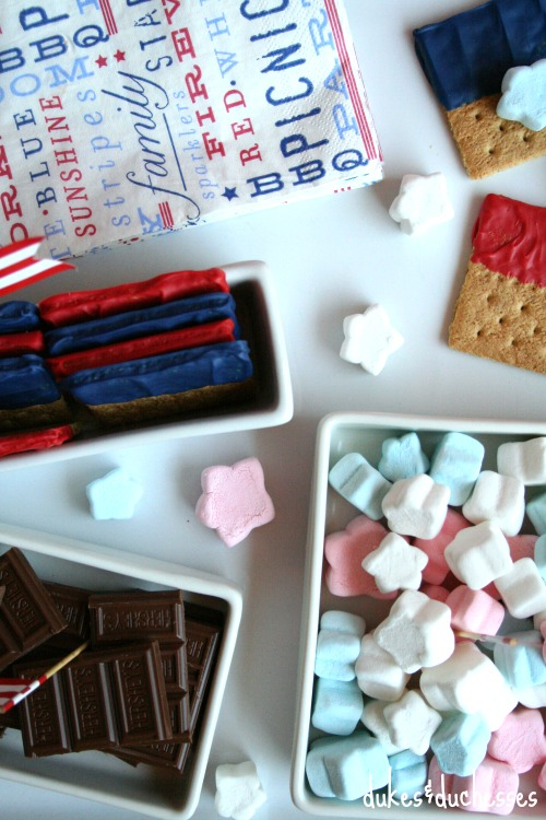 red white and blue s'mores