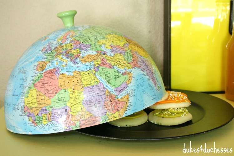 repurposed globe cloche on plate