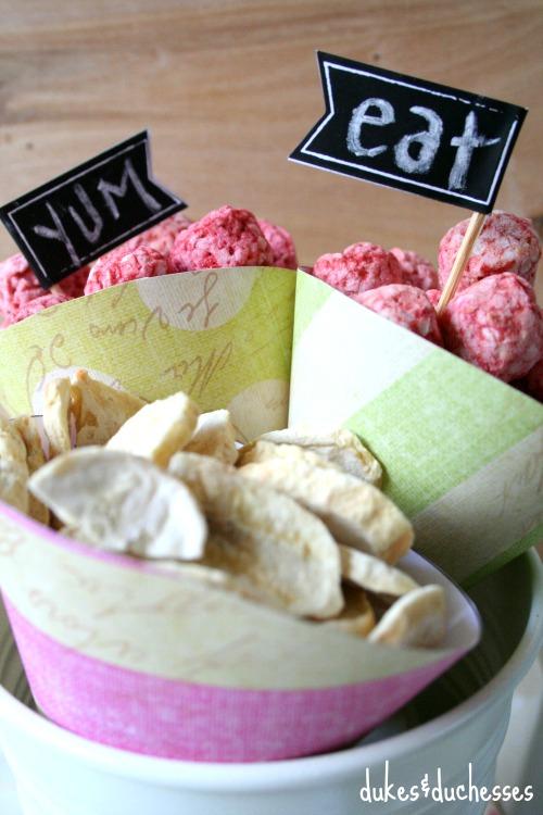 snacks in paper cones