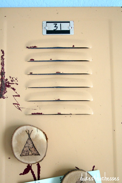 vintage locker door memo board