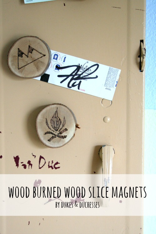 wood burned wood slice magnets