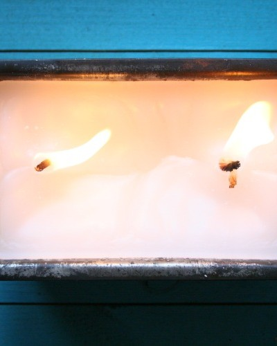 citronella candle in loaf pan