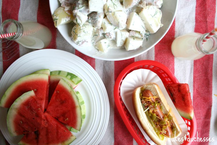 hot dogs with side dishes