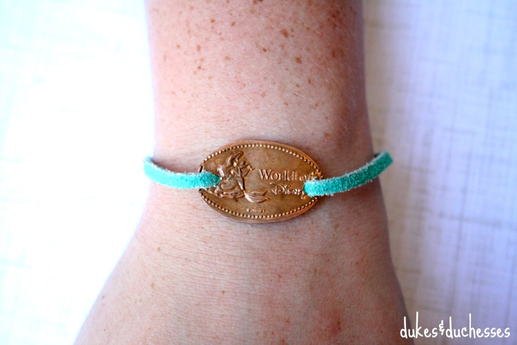 pressed souvenir coin bracelet