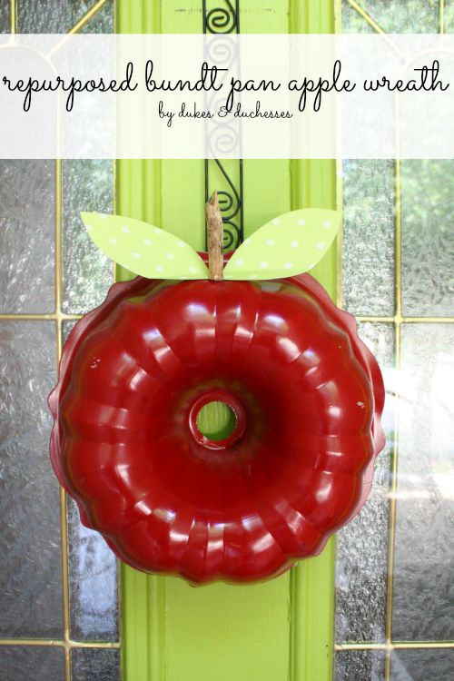 repurposed bundt pan apple wreath