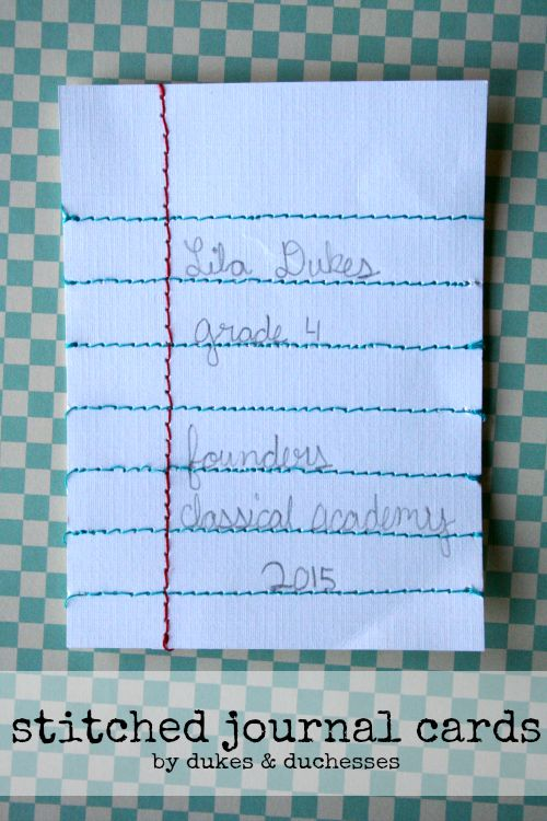 stitched journal cards for project life