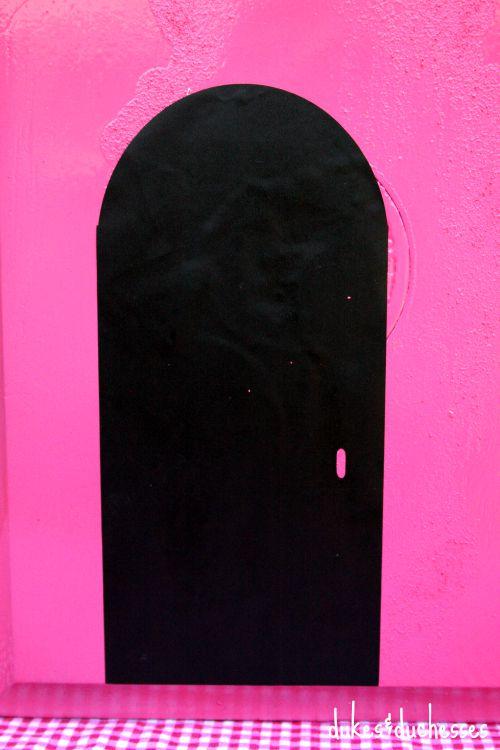 vinyl front door of cigar box dollhouse