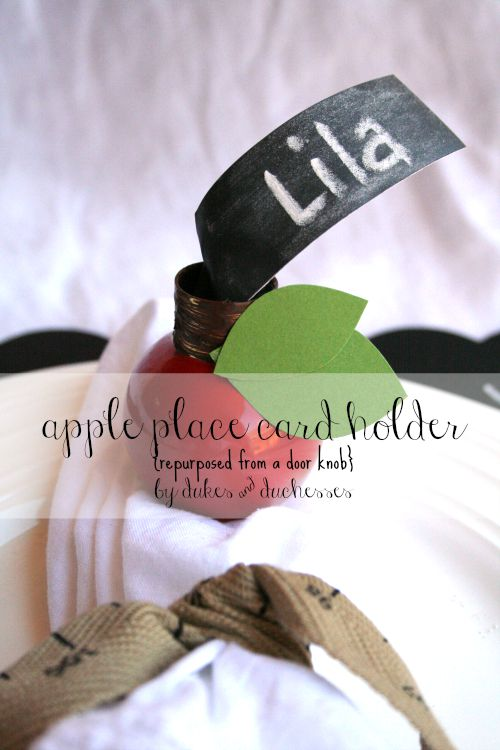 apple place card holder repurposed from a door knob