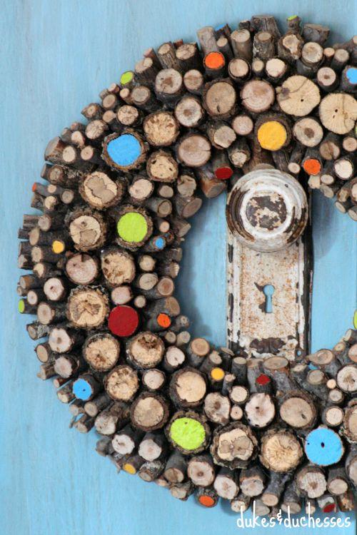 colorful log wreath