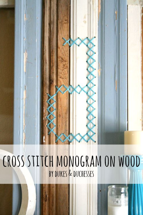 cross stitch monogram on wood