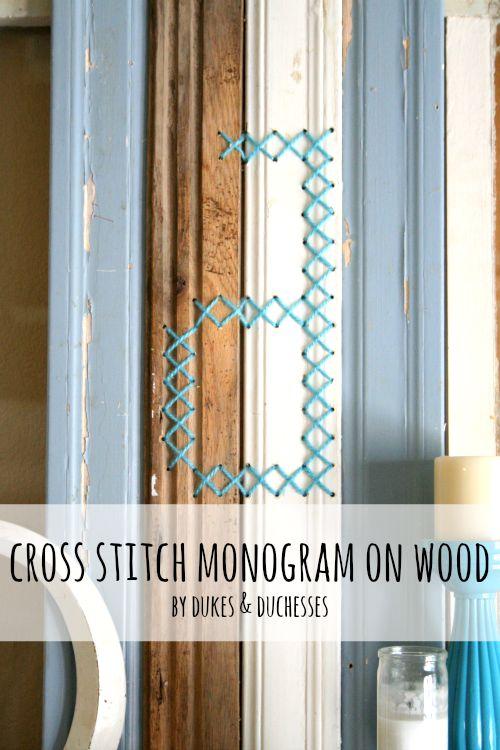 cross stitch monogram on reclaimed wood