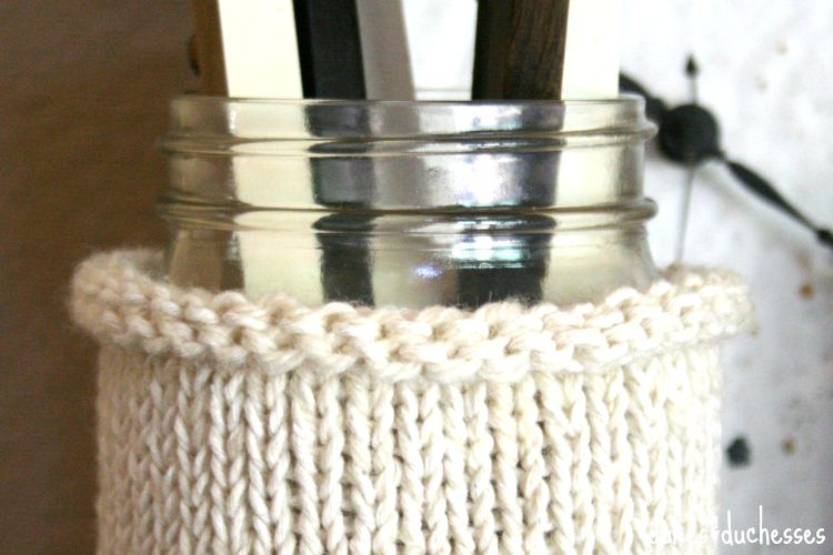 knit cozy for mason jar