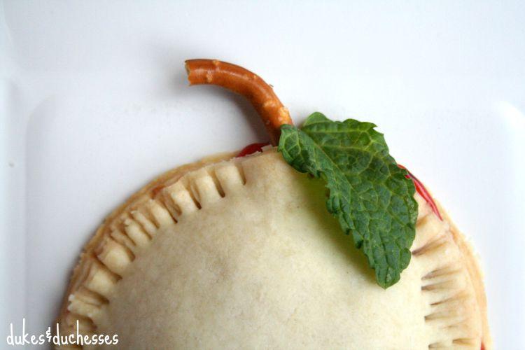 mint leaves on apple hand pies