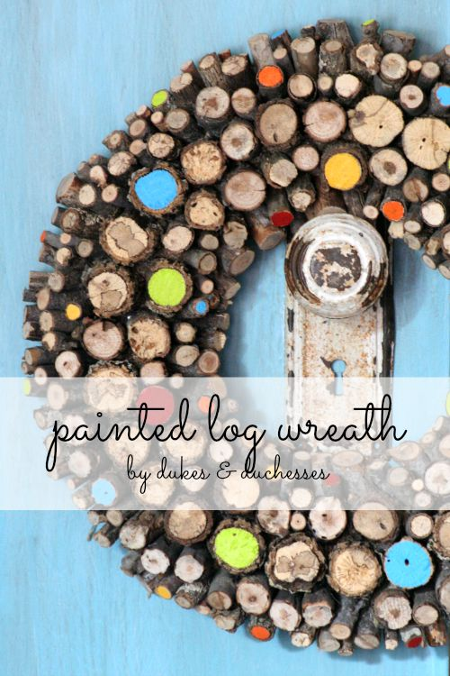 painted log wreath