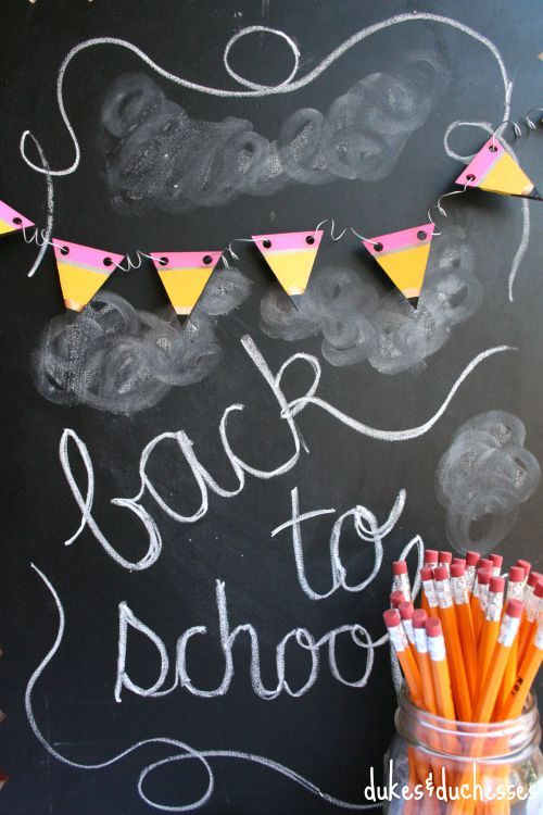 painted pencil garland for back to school
