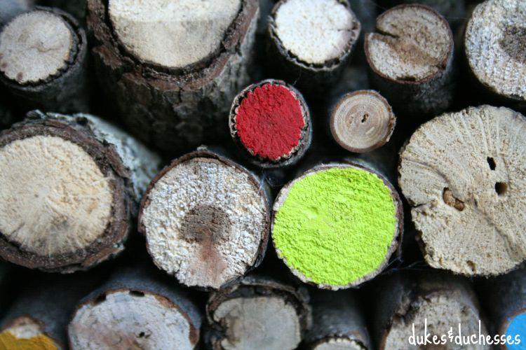 painted wood on log wreath