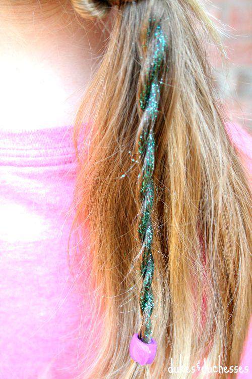 ponytail twist with DIY glitter hair spray