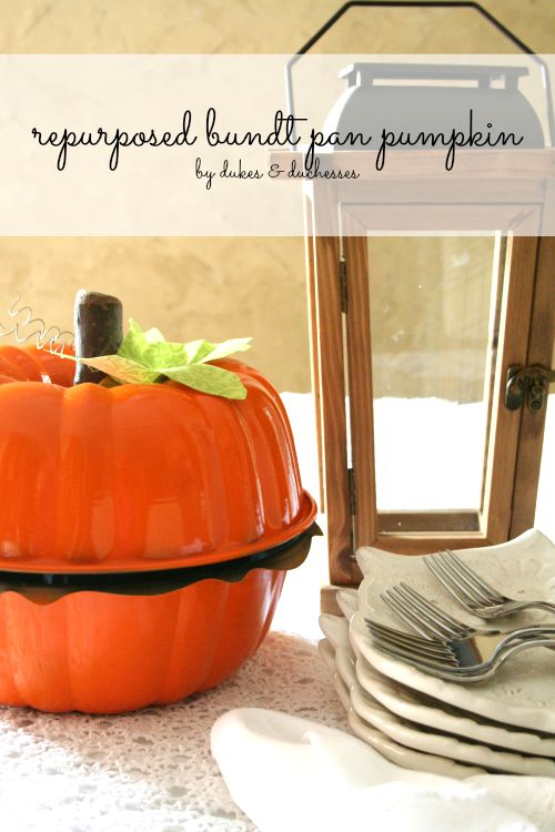 repurposed bundt pan pumpkin