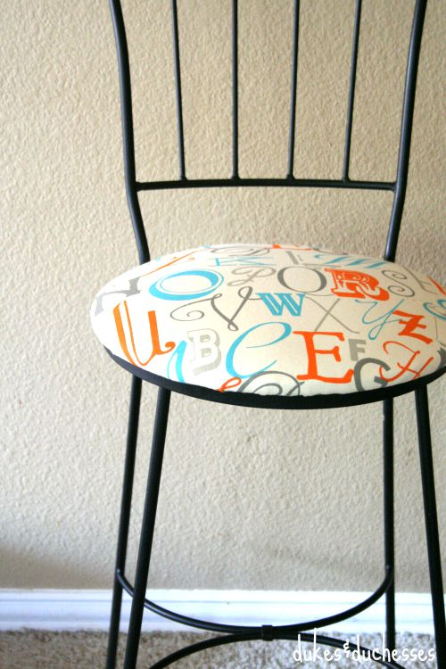 typography covered bar stool