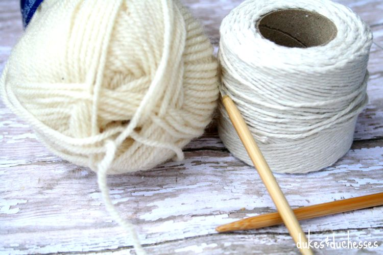 yarn and twine for knit mason jar cozy