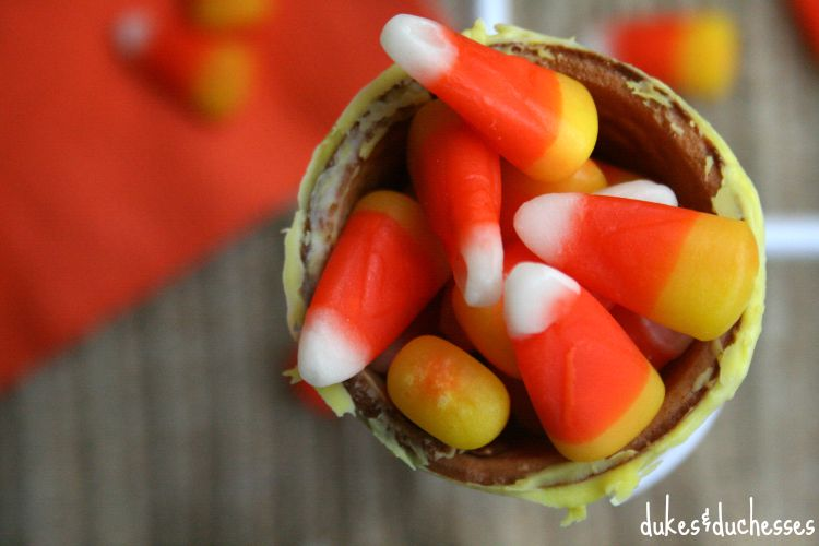 candy corn in a snack cone