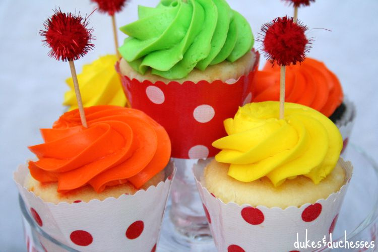 colorful oilcloth cupcake wrappers