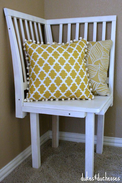 corner chair with pillows