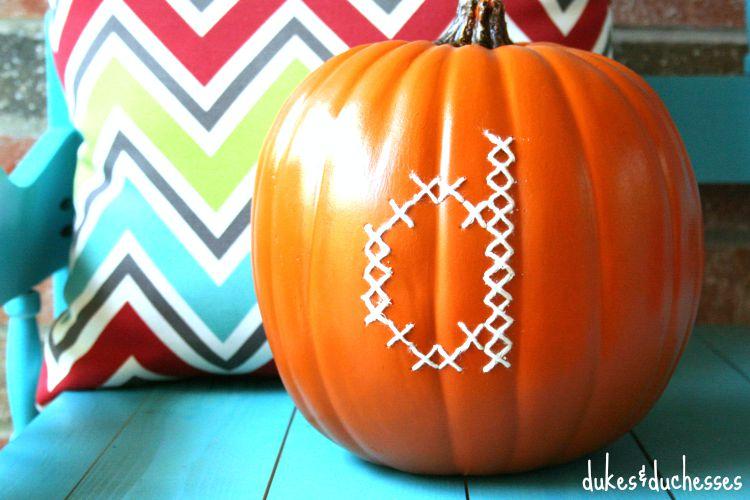 cross stitched pumpkin