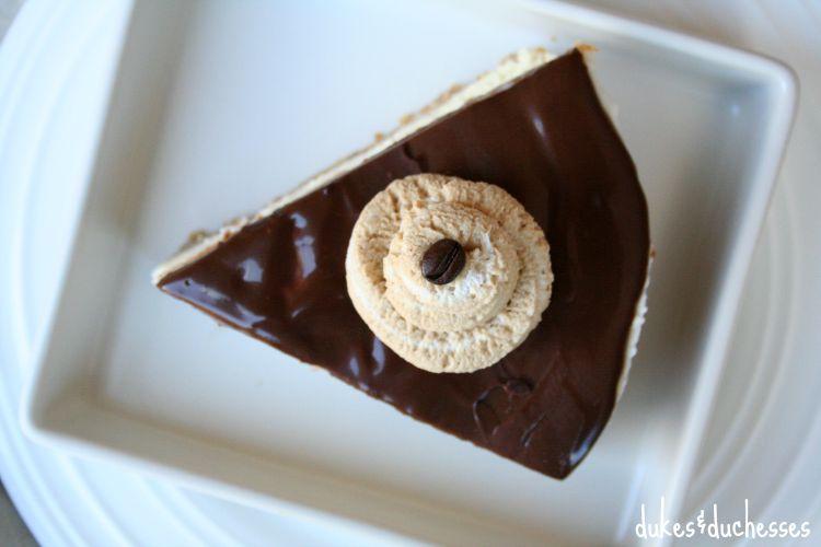 espresso whipped cream on cheesecake