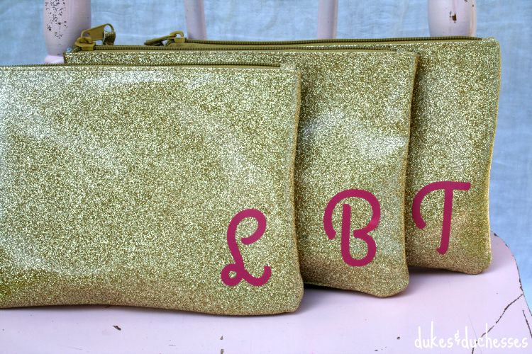 gold gift bags with vinyl monogram