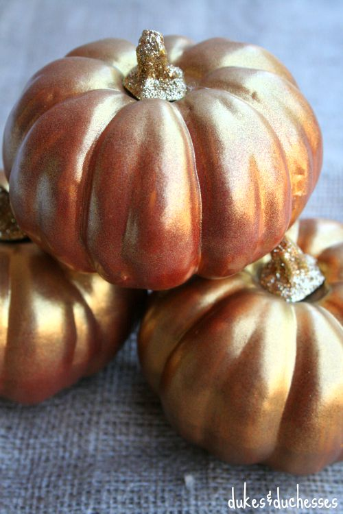 metallic pumpkins with glitter stems