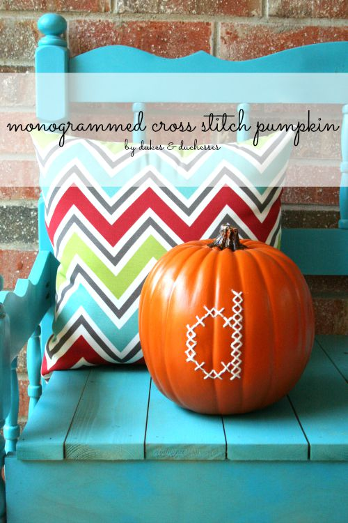 monogrammed cross stitch pumpkin
