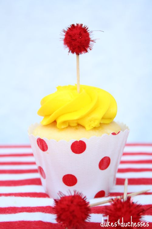 oilcloth cupcake wrappers on cupcakes