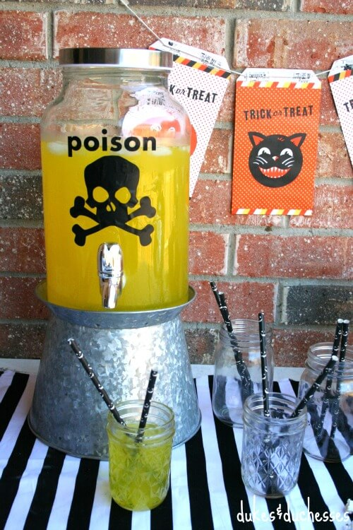 Looking for Halloween party ideas? Check out this Halloween Poison Drink Dispenser by Dukes & Duchesses!