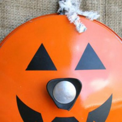 Repurposed Pot Lid Jack O'Lantern
