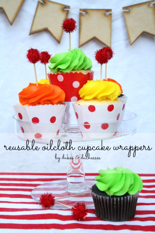 reusable oilcloth cupcake wrappers
