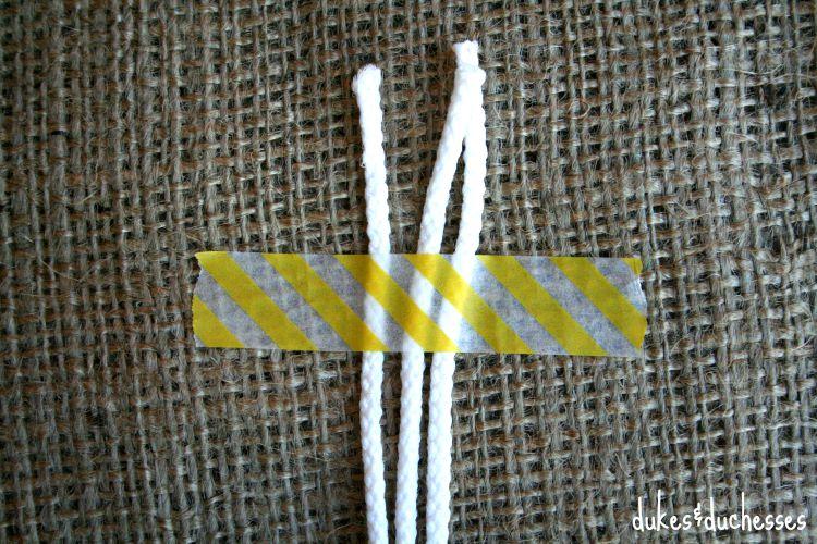 three cords for half hitch macrame handles