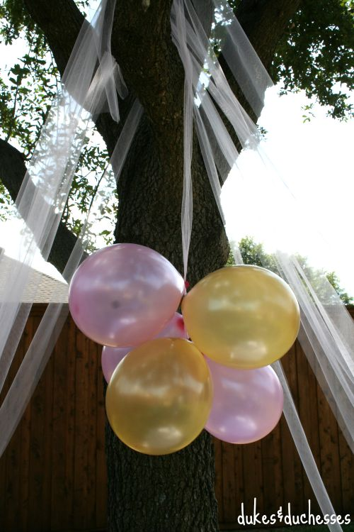 tulle tent in the backyard